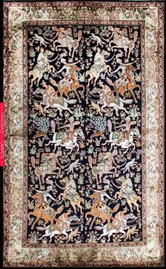 6 by 4 pure silk rug Royal Blue-The Hunt from India Wool Carpet, Rugs On Carpet, Blue Carpet, Persian Carpet, Persian Rug, Pierre Loti, Iranian Rugs, Iranian Art, Medieval Tapestry