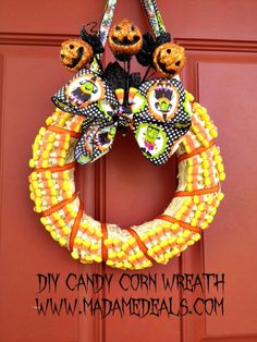 Welcome everyone for Halloween with this DIY Candy Corn Wreath which looks so pretty.