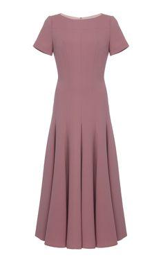 Tunder Pleated Wool Midi Dress by Emilia Wickstead Midi Dress With Sleeves, Floral Midi Dress, Short Sleeve Dresses, Daytime Dresses, Evening Dresses, Formal Dresses, Emilia Wickstead, Business Dresses, Simple Dresses