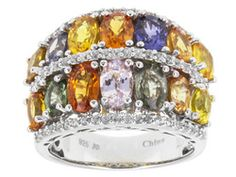 7.80ctw Oval Multi-color Sapphire With .62ctw Round White Zircon Sterling Silver Band Ring