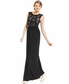 R&M Richards Sleeveless Glitter Lace Gown - Dresses - Women - Macy's