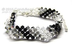 Silver Black Shade Swarovski Crystal Bracelet with silver clasp by CandyBead