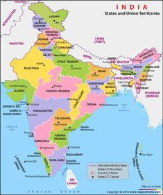 India Political map shows all the states and union territories of India along with their capital cities. political map of India is made clickable to provide you with the in-depth information on India. India World Map, India Map, India India, World Maps, Full World Map, World Geography Map, General Knowledge Book, Gk Knowledge, Gernal Knowledge In Hindi