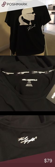 """NWT Karl Lagerfeld Unisex T-shirt Top Beautifully tailored black unisex Karl Lagerfeld t-shirt top. It has a little spandex so is roomy. The collar is tailored with white ribbon connoting """"Karlitos"""" name. His signature is also on the back. Wear with anything! Will arrive in original plastic packaging with labels. Check out the listing of similar ones. NO longer available in stores. Open to considerate offers. Reduced price if you purchase more than one. Txs for looking POSH ❤️ Karl Lagerfeld…"""