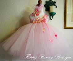 Pink Lemonade Tutu Dress Flower Girl by FloppyBunnyBoutique, $65.00