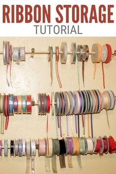Make a simple ribbon roll storage solution using wood dowels and cafe rod brackets. Click here for the step-by-step tutorial.#thecraftyblogstalker#ribbonstorage#ribbonrollstorage#ribbonrolls How To Make Ribbon, Diy Ribbon, Cafe Rod, Ribbon Storage, Easy Diy Crafts, Craft Storage, Craft Tutorials, Clean House, Diy Tutorial