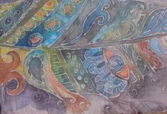 pluma dibujada con la técnica del batik