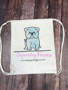 Natural Canvas Backpack Drawstring - English Bulldog Bag