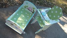 Custom Wooden Doll High Chair AND Doll Cradle OWL by spoiltrottn, $149.95