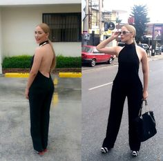Magnolia kasse look of the day,black backless jumpsuit,  striped pumps, black handbag, sunglasses,  spring style, fashionista dominicana