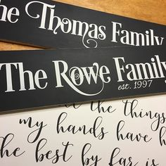 Family name signs are coming!! I'm so excited about these, you guys! These two need to be framed, but then I'll get them listed in the shop. These are so fun because each one ends up slightly different because of the letters in the last names. 😊 #familynamesign
