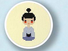 Sweet Kokeshi Doll II. Cross Stitch PDF Pattern