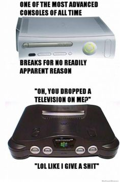 The 64 would break the TV. Nintendo products last forever.