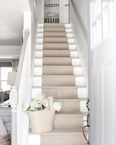 stair runner over white painted stairs Hallway Designs, Staircase Remodel, Staircase Runner, Home, Staircase Makeover, House Stairs, Staircase Design, Coastal Living Rooms, Stair Decor