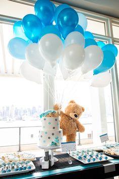 A Teddy Bear Themed Baby Shower — Little Miss Party - Baby Diy Fotos Baby Shower, Idee Baby Shower, Cute Baby Shower Ideas, Shower Bebe, Boy Baby Shower Themes, Baby Shower Balloons, Girl Shower, Baby Shower Parties, Baby Shower Boys