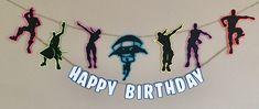Fortnite inspired birthday banner, Fortnite decorations, Fortnight birthday, Fortnite silhouette banner, Fortnite party decorations by DandelionPaperDecor on Etsy