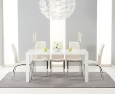 Buy the Atlanta 160cm White High Gloss Dining Table with Cavello Chairs at Oak Furniture Superstore