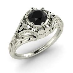 Round Black Diamond Ring in 14k White Gold