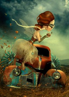 This is inspired by steampunk which is a genre of art that incorporates fantasy and also era where steam engines were used regularly.The figure in this piece looks like a fairy holding a compass or a miniature house. I love how the girl is not proportional to the car and the colour that is used in the sky. If you look on the bottom you can see a nice of patch of texture going on in the grass and it portrays a very beautiful alignment of rhythm.