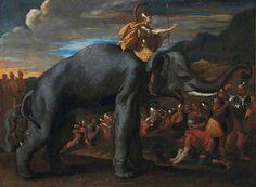 Nicolas Poussin (1594-1665) – Hannibal traversant les Alpes à dos d'éléphant - Huile sur toile (ca 1625-26) Collection privée