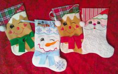 Set of Four Christmas Stockings – Embroidered and/or Quilted – Santa, Ginger Bread Man, Snowman – Handmade – Christmas Decorating – Gift