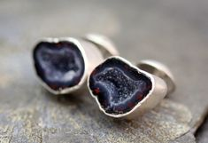 Geode Cuff Links in Sterling Silver Custom Made by Specimental, $190.00