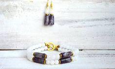 Mrs_Leyla / Sada šperkov z minerálov - Náramok a Náušnice Bangles, Bracelets, Jewelry, Fashion, Moda, Jewlery, Jewerly, Fashion Styles, Schmuck