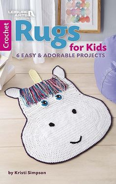 The novelty crochet designs in Rugs for Kids from Leisure Arts can help children step into imaginary worlds where creativity is key. Great for play areas and bedrooms, six fun designs by Kristi Simpson include cow, owl, penguin, racetrack, rocket, and unicorn. #leisurearts #rugsforkids #childrensroomdecor #kidsprojects #bestonlineshoppingwebsites
