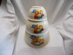 Vintage RARE Homer Laughlin Shaggy Flower Kitchen Kraft 3 Piece Mixing Bowl Set | eBay