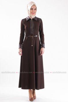 Butik Neşe - Deri Detayli Kahve Kışlık Elbise - 2275-06
