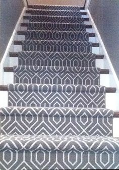 Geometric Carpet Runner on Stairway Contemporary Stairs, Modern Staircase, Staircase Design, House Staircase, Staircase Remodel, Staircase Ideas, Contemporary Furniture, Hallway Carpet, Carpet Stairs