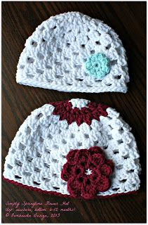 Simply Springtime Flower Hat   Free Crochet Pattern  © Oombawka Design, 2013 [sizes: Newborn - Adult]
