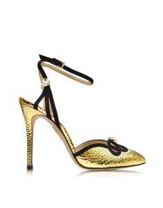 Charlotte Olympia Modern Minx Martele Golden Leather and Suede Sandal 36 (6 US   3 UK   36 EU) at FORZIERI
