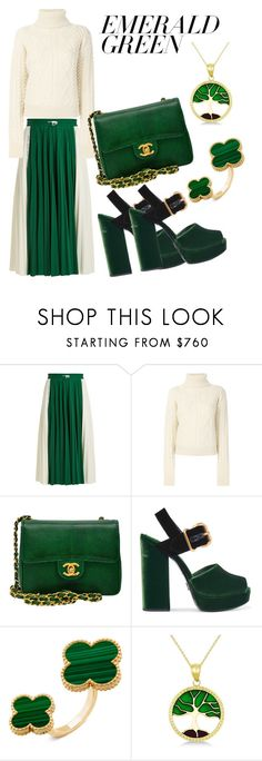 """#EmeraldGreen 5"" by monika2406 ❤ liked on Polyvore featuring Valentino, Yves Saint Laurent, Chanel, Prada, Allurez and emeraldgreen"
