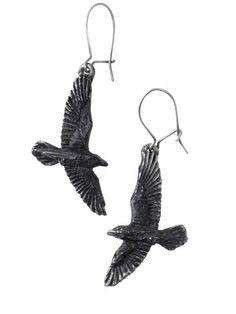 Black Raven, zwarte raaf oorbellen - Gothic Metal - per paar - Alchemy Gothic Punk Earrings, Gothic Earrings, Goth Jewelry, Black Jewelry, Charm Jewelry, Drop Earrings, Gothic Jewellery, Jewelery, Piercings