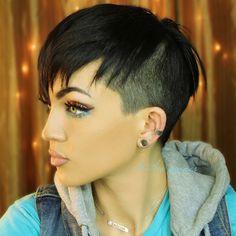 Black undercut pixie haircut ; Heather Symmes
