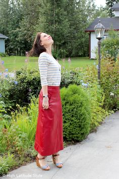 #fashionover40 #fashionover50 maxi skirt with striped shirt at the Top of the World Style fashion linkup party Thursdays on High Latitude Style http://www.highlatitudestyle.com
