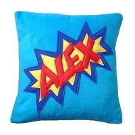Personalised comic style fleece cushion Snuggly Turquoise fleece cushion with appliqued fleece comic style name of your choice. Please message me with the name you would like and if you would like a different colour combination. Removable polar fleece ...
