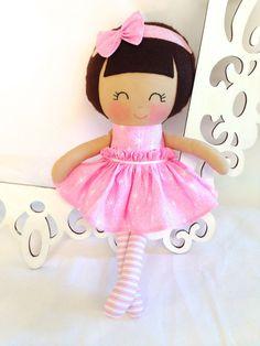 Fabric Doll Handmade Doll Cloth Doll Girl Gift by SewManyPretties #girlbirthday #girlgift #babyshowergift
