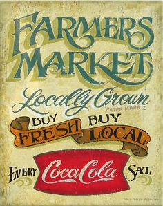 Farmers Market Cola Printwith MAT 11 by 14 by ZekesAntiqueSigns