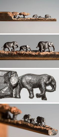 A Miniature Landscape of Elephants Carved From the Tip of a Pencil by Cindy Chinn Familia de elefantes hechos en grafito. Pencil Carving, Elephant Love, Elephant Walk, Colossal Art, Wow Art, Cool Landscapes, Pencil Art, Lead Pencil, Art Plastique