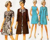 1960s A Line Dress and Clutch Coat Pattern Style 2644 Vintage Sewing Pattern Bust 34 Three Quarter Sleeve Summer Weight Coat and Dress