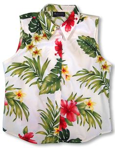 f86fc13ee5a3 Fragrant Yellow Plumeria Ladies Hawaiian Aloha Sleeveless, Shirttail,  Blouse. Mauishirts.com Popular