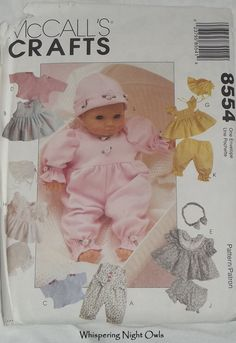 McCall's Sewing Pattern Doll Clothes fits Bitty Baby Dolls by WhisperingNightOwls, $5.00