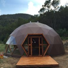 This dome-like geometric structure certainly catches the attention of passerbys. Visit risingbarn.com to see our structural designs.