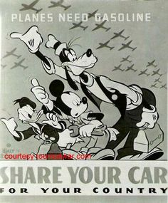 Share Your Car. Disney, Hank Porter c. 1943 Disney did many things in support of the War Effort during WWII. Vintage Advertisements, Vintage Ads, Vintage Posters, Vintage Disney, Ww2 Posters, Poster Ads, Disney Go, Disney Pins, Ww2 Propaganda