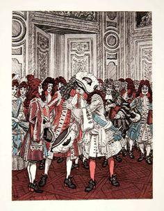Pierre Brissaud 'Presentation to the King' from The Memoirs of Louis de Rouvroy due de Saint-Simon (1959)