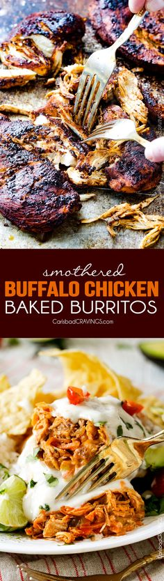 """Smothered Baked BUFFALO Chicken Burritos AKA """"skinny chimichangas"""" are restaurant delicious without all the calories! stuffed with the BEST buffalo chicken and then baked to golden perfection and smothered in most incredible Creamy Lime Ranch Sauce! my family goes crazy over these!!"""