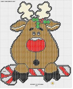 CANDY CANE DEER by DAISY*STITCHEMS -- WALL HANGING 2/2