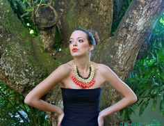 beautiful handmade coral necklace